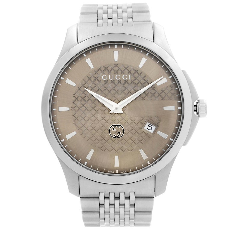 Gucci G-Timeless Date Stainless Steel Brown Dial Quartz Mens Watch YA126349 For Sale