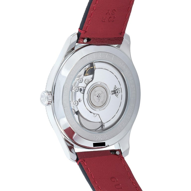 Gucci G-Timeless Automatic Stainless Steel Watch YA126346 In New Condition For Sale In Southampton, PA