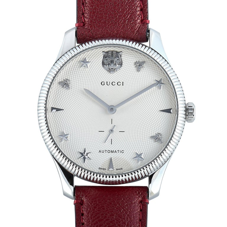 Women's or Men's Gucci G-Timeless Automatic Stainless Steel Watch YA126346 For Sale