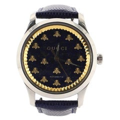 Gucci G-Timeless Bee Automatic Watch Stainless Steel and Lizard 38