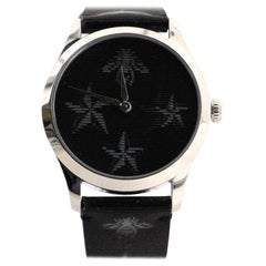 Gucci G-Timeless Bee Star Hologram Quartz Watch Stainless Steel and Leath