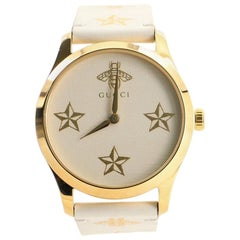 Gucci G-Timeless Bee Star Quartz Watch Stainless Steel and Leather