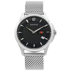 Gucci G-Timeless Black Checkered Dial Steel Mesh Band Quartz Mens Watch YA126308