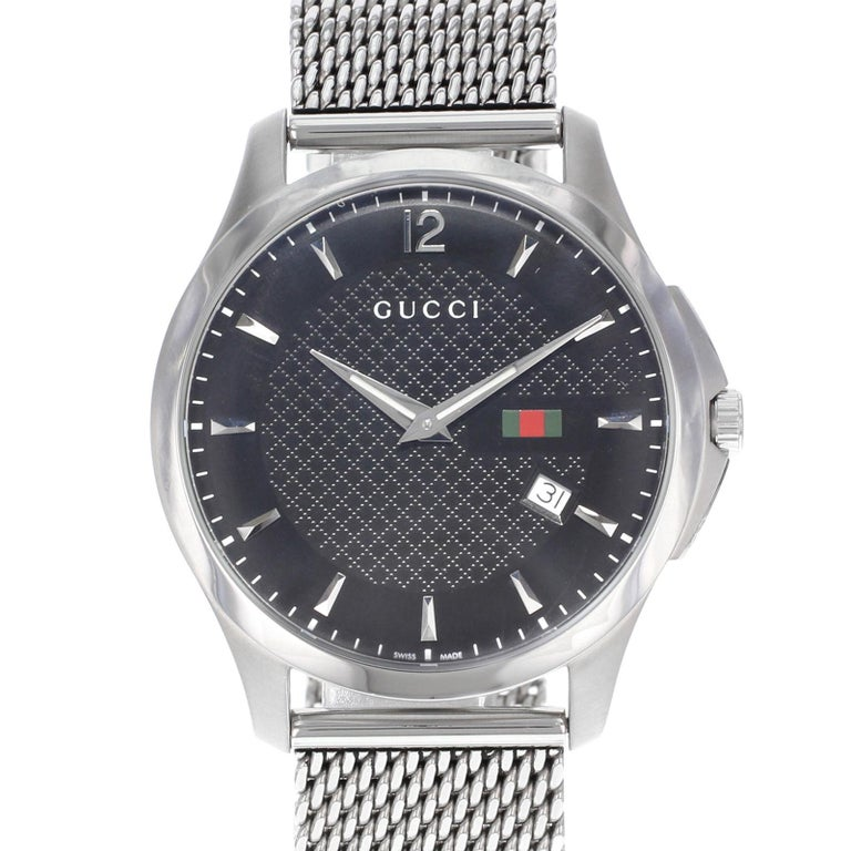 75ba03788 ... Stainless Steel Mesh Band Quartz Mens Watch YA126308 For Sale. (20730)  This pre-owned Gucci G-Timeless YA126308 is a beautiful men s