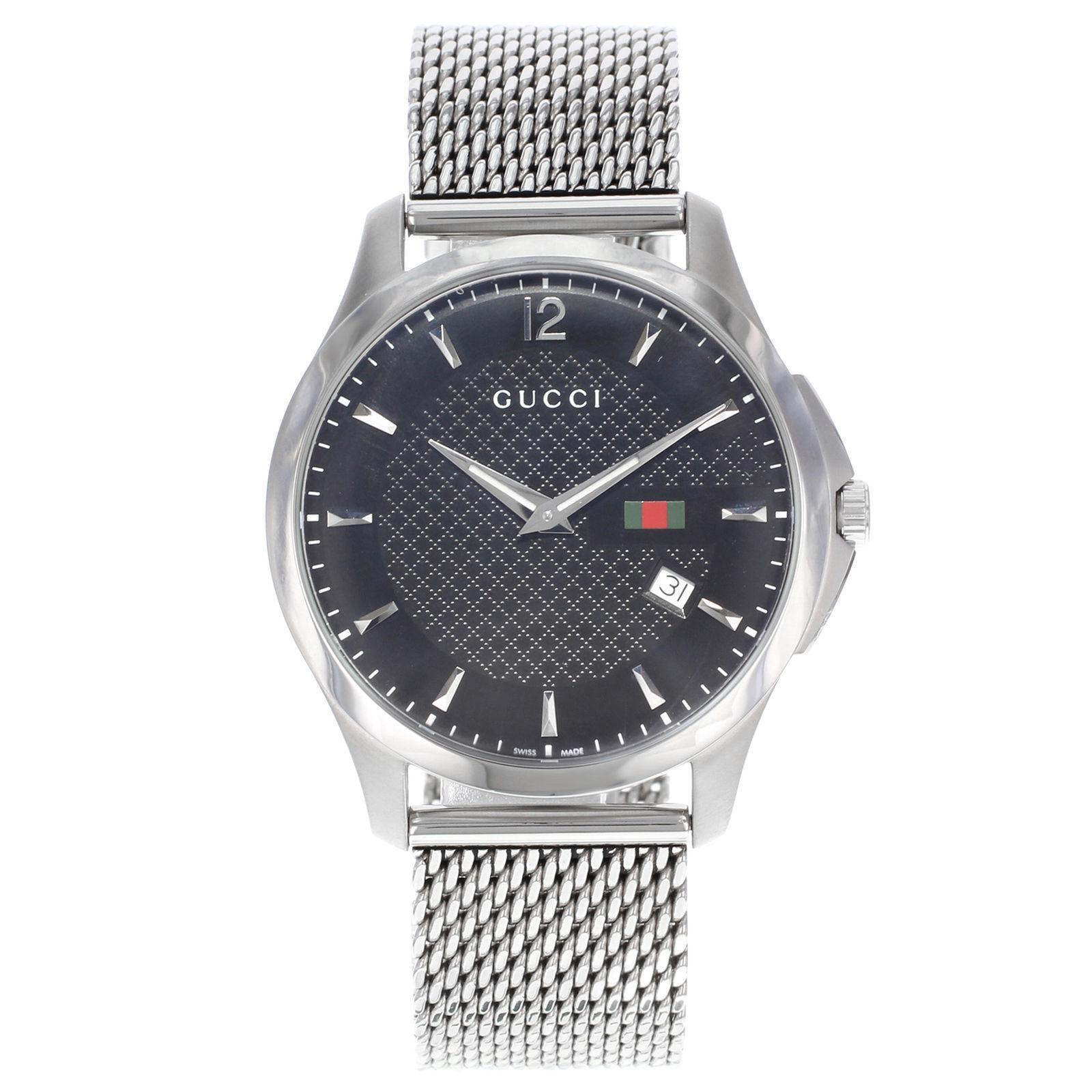 ee5810756 Gucci G-Timeless Black Dial Stainless Steel Mesh Band Quartz Mens Watch  YA126308 at 1stdibs