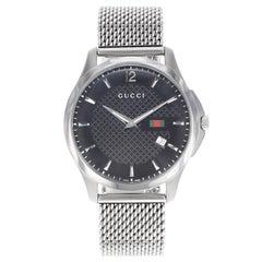 Gucci G-Timeless Black Dial Stainless Steel Mesh Band Quartz Mens Watch YA126308