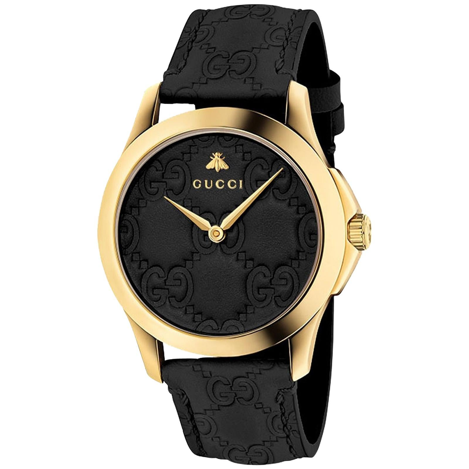 d08498bc970 Gucci GG2570 Black Dial Rose Gold-Tone Men s Watch Item No. YA142309 For  Sale at 1stdibs