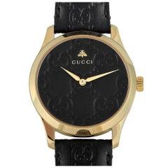 Gucci G-Timeless Black Leather Strap Watch YA1264034A