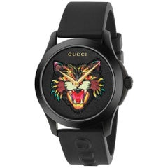 0a142fb36b4 Gucci G-Timeless Black with Cat Motif Dial Men s Rubber Watch Item No.  YA1264021