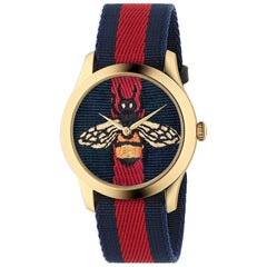 Gucci G-Timeless Blue and Red Dial with Embroidered Bee Ladies Watch YA1264061
