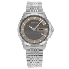 Gucci G-Timeless Bronze Checkered Sticks Dial Steel Quartz Men's Watch YA126310
