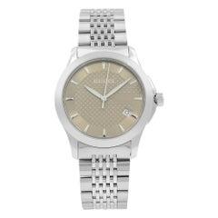 Gucci G-Timeless Date Bronze Checkered Dial Steel Quartz Men's Watch YA126406
