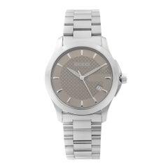 Gucci G-Timeless Date Stainless Steel Bronze Dial Quartz Men's Watch YA126406