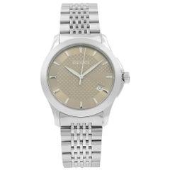 Gucci G-Timeless Date Steel Bronze Checkered Dial Quartz Mens Watch YA126406
