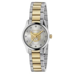 Gucci G-Timeless Diamond Dial Two Tone Bracelet Ladies Watch YA1265016