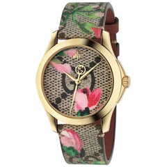 Gucci G-Timeless Gold-Plated Pink Blooms Leather Strap Watch YA1264038A
