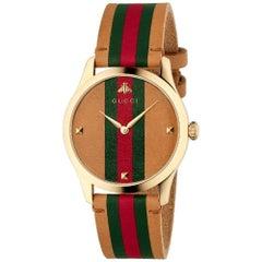 Gucci G-Timeless Le Marche Des Merveil Stripe Motif Dial Leather Watch YA1264077