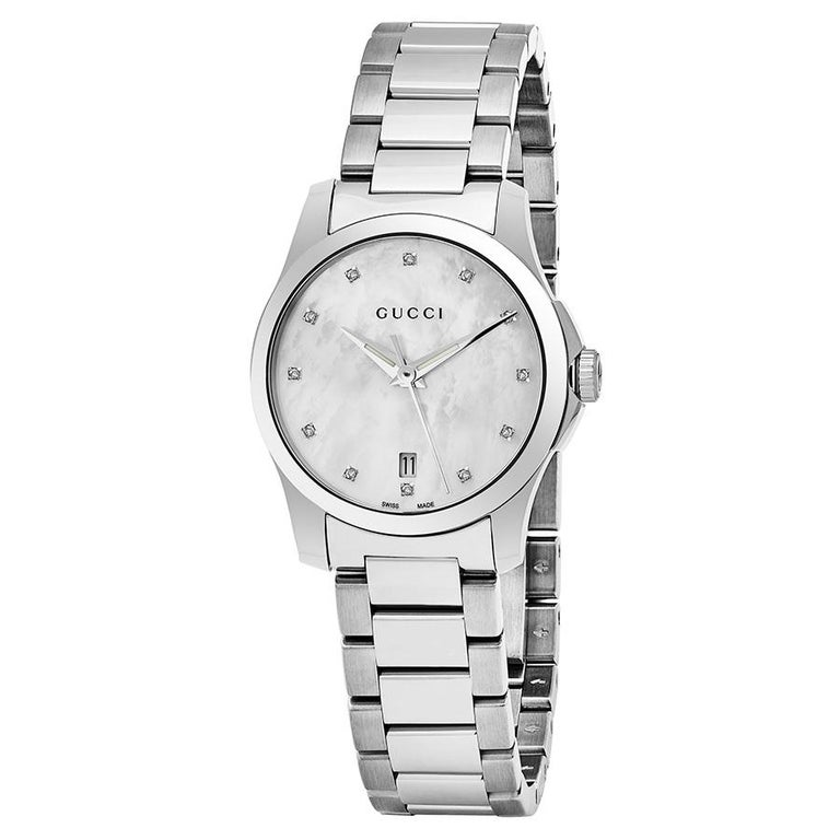 489672157c2 Gucci G-Timeless Mother-of-Pearl Diamond Dial Ladies Watch Item No ...