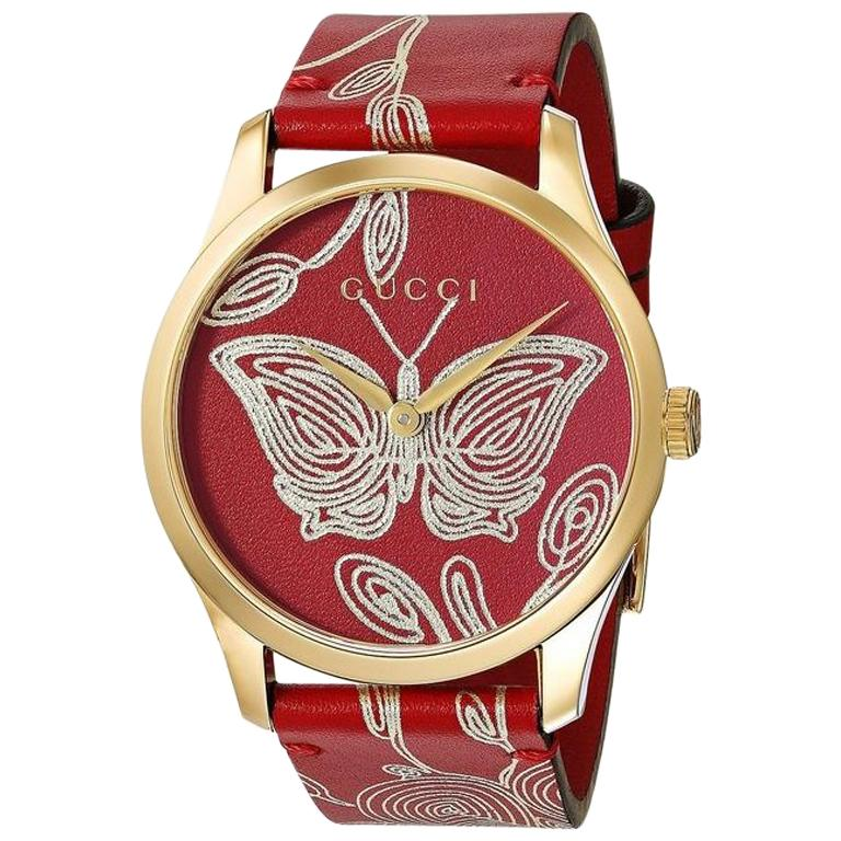 ce923c84fcb Gucci G-Timeless Quartz Red Dial Gold Red Leather Ladies Watch YA1264054  For Sale