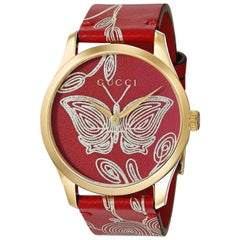 Gucci G-Timeless Quartz Red Dial Gold Red Leather Ladies Watch YA1264054