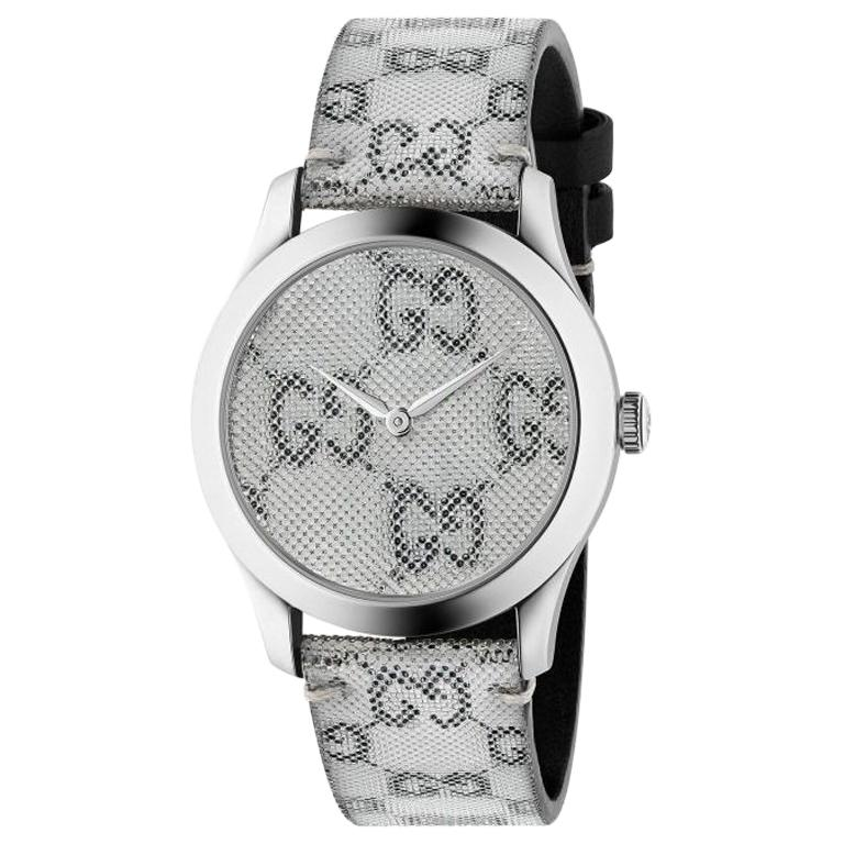 0a30642ac2d Gucci G-Timeless Quartz Stainless Steel Grey Dial Unisex Watch YA1264059  For Sale at 1stdibs
