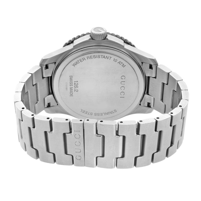 Gucci G-Timeless Silver Checkered Dial Steel Plastic Men's Quartz Watch YA126250 For Sale 1