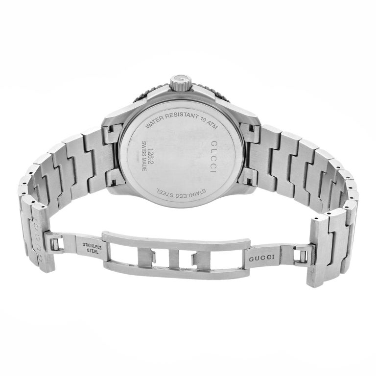 Gucci G-Timeless Silver Checkered Dial Steel Plastic Men's Quartz Watch YA126250 For Sale 2