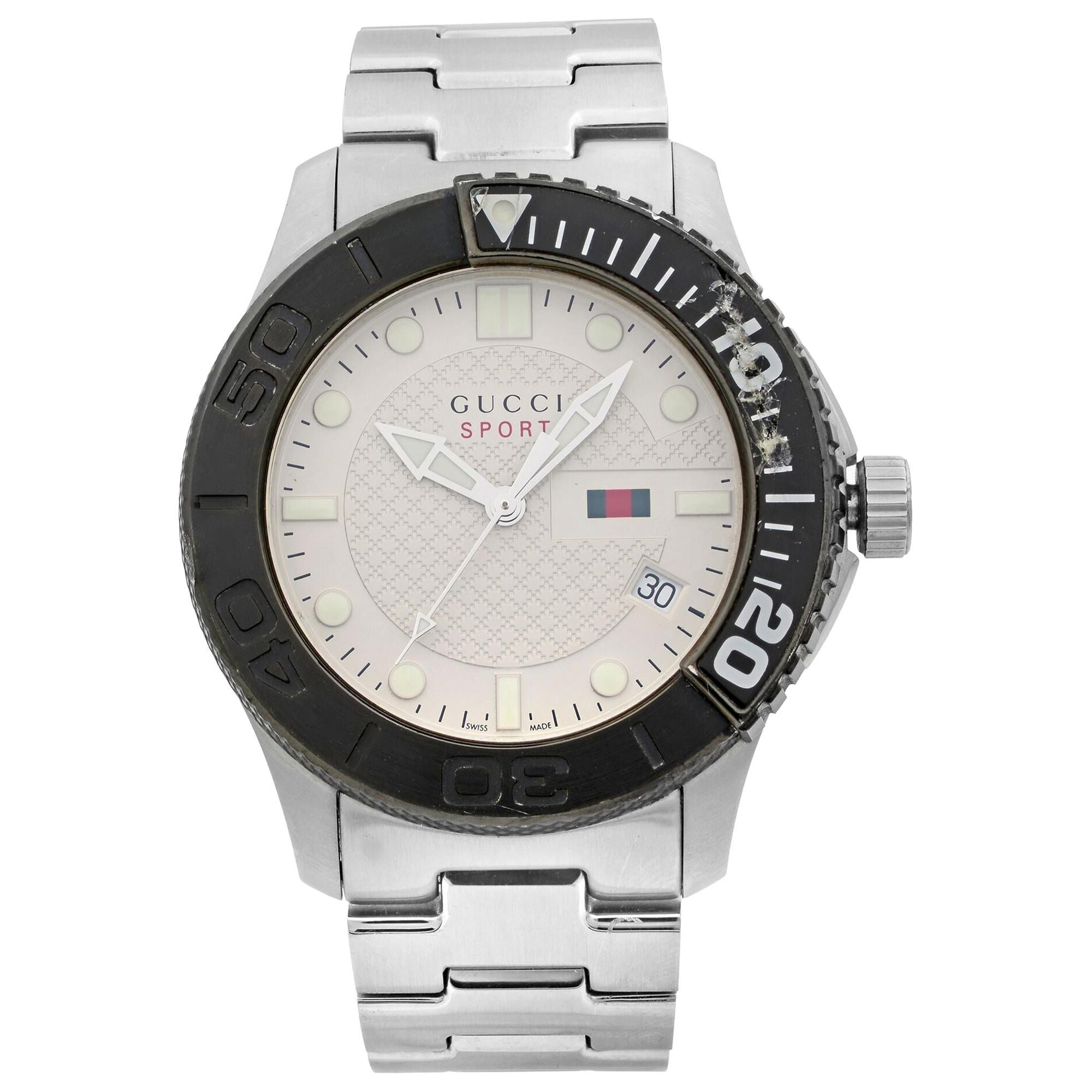 Gucci G-Timeless Silver Checkered Dial Steel Plastic Men's Quartz Watch YA126250