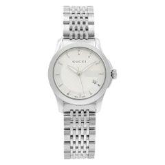 Gucci G-Timeless Silver Checkered Sticks Dial Steel Quartz Ladies Watch YA126501