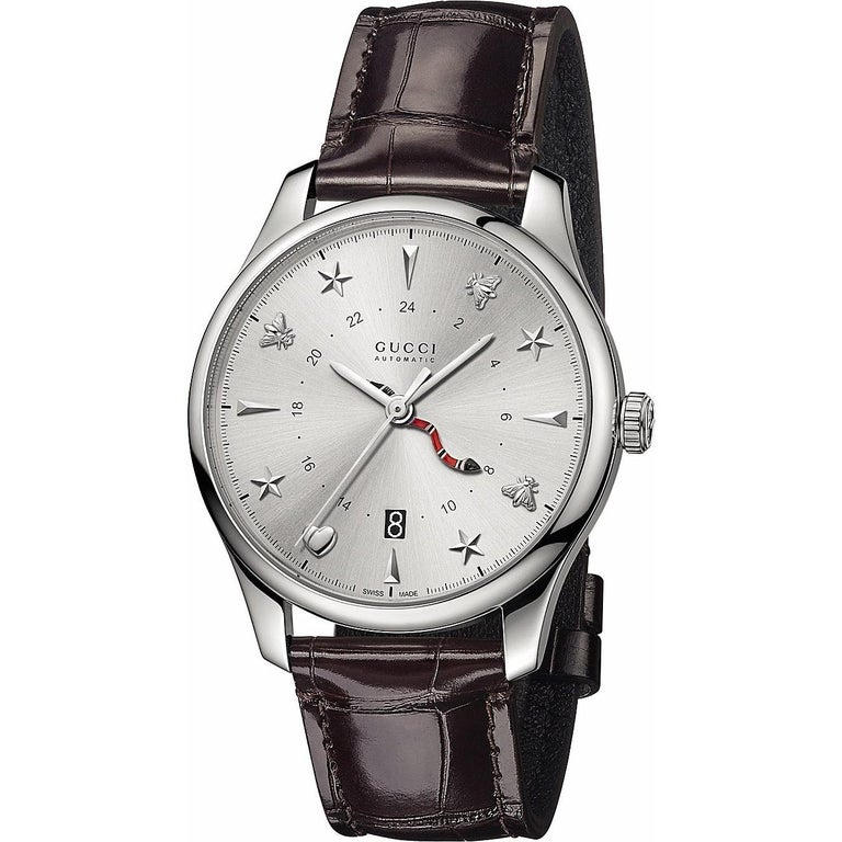 fc31bd0462d Gucci G-Timeless Silver Dial Automatic GMT Men s Leather Watch Item No.  YA126332 For