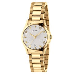 Gucci G-Timeless Silver Dial Gold PVD Ladies Watch Item No. YA126576A