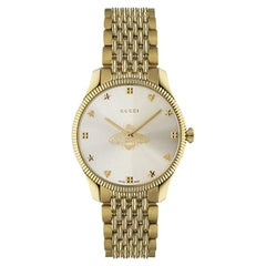 Gucci G-Timeless Silver Dial Gold PVD Stainless Steel Ladies Watch YA1264155