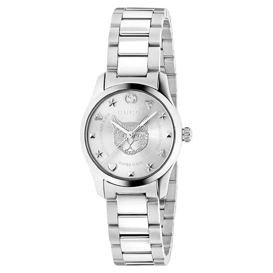 Gucci G-Timeless Silver Dial Ladies Watch YA126595