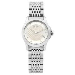 Gucci G-Timeless Silver Sticks Dial Steel Quartz Ladies Watch YA126501