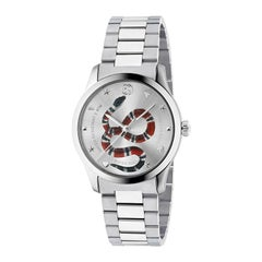 Gucci G-Timeless Silver with Snake Motif Dial Stainless Steel Watch YA1264076