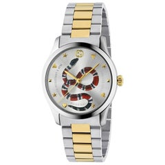 Gucci G-Timeless Silver with Snake Motif Dial Watch YA1264075