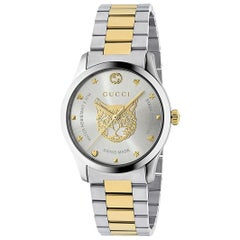 638cb788b9a Gucci G-Timeless Stainless Steel and Yellow Gold PVD Round Dial YA1264074