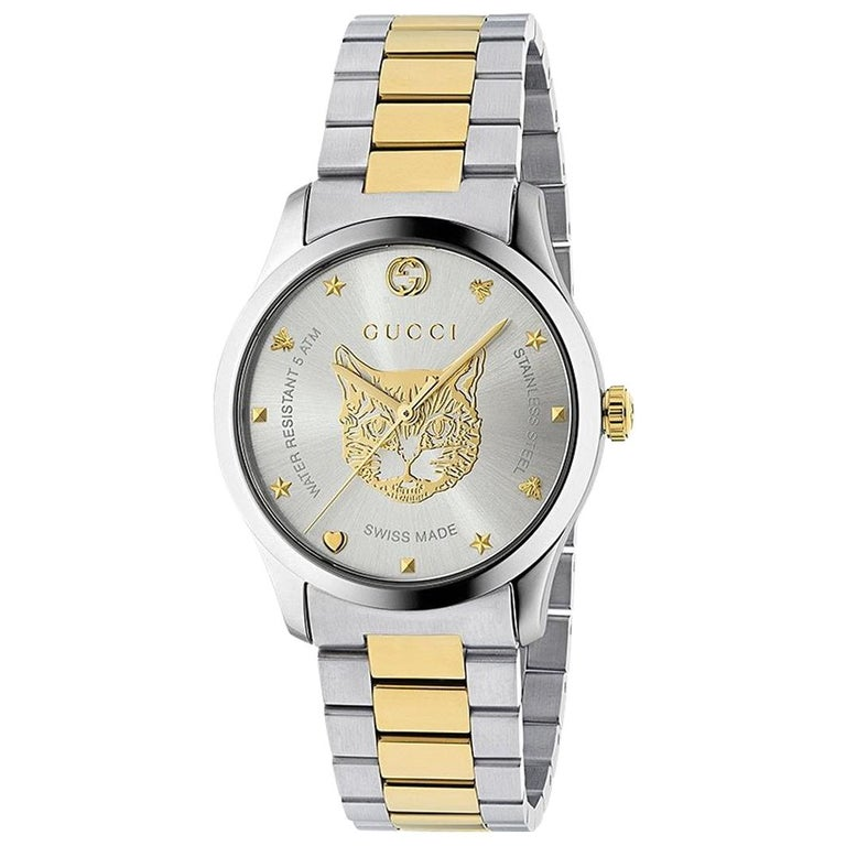 802b2d1db43 Gucci G-Timeless Stainless Steel and Yellow Gold PVD Round Dial YA1264074  For Sale at 1stdibs