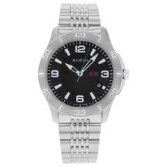 Gucci G-Timeless Stainless Steel Black Dial Quartz Men's Watch YA126218