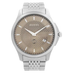 Gucci G-Timeless Stainless Steel Brown Dial Quartz Mens Watch YA126349