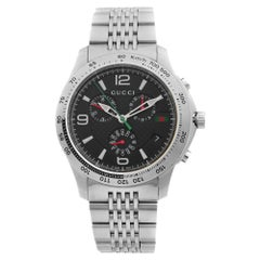 Gucci G-Timeless Stainless Steel Chronograph Black Dial Quartz Watch YA126221