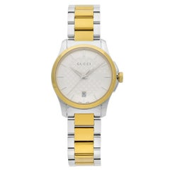 Gucci G-Timeless Stainless Steel Gold-Tone Silver Dial Ladies Watch YA126531