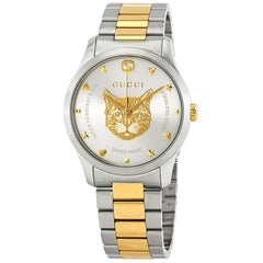 Gucci G-Timeless Stainless Steel and Yellow Gold PVD Round Dial Ya1264074