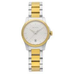 Gucci G-Timeless Steel Gold-Tone Silver Dial Quartz Ladies Watch YA126531