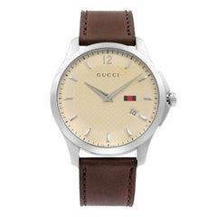 Gucci G-Timeless Steel Ivory Dial Leather Strap Quartz Men's Watch YA126303