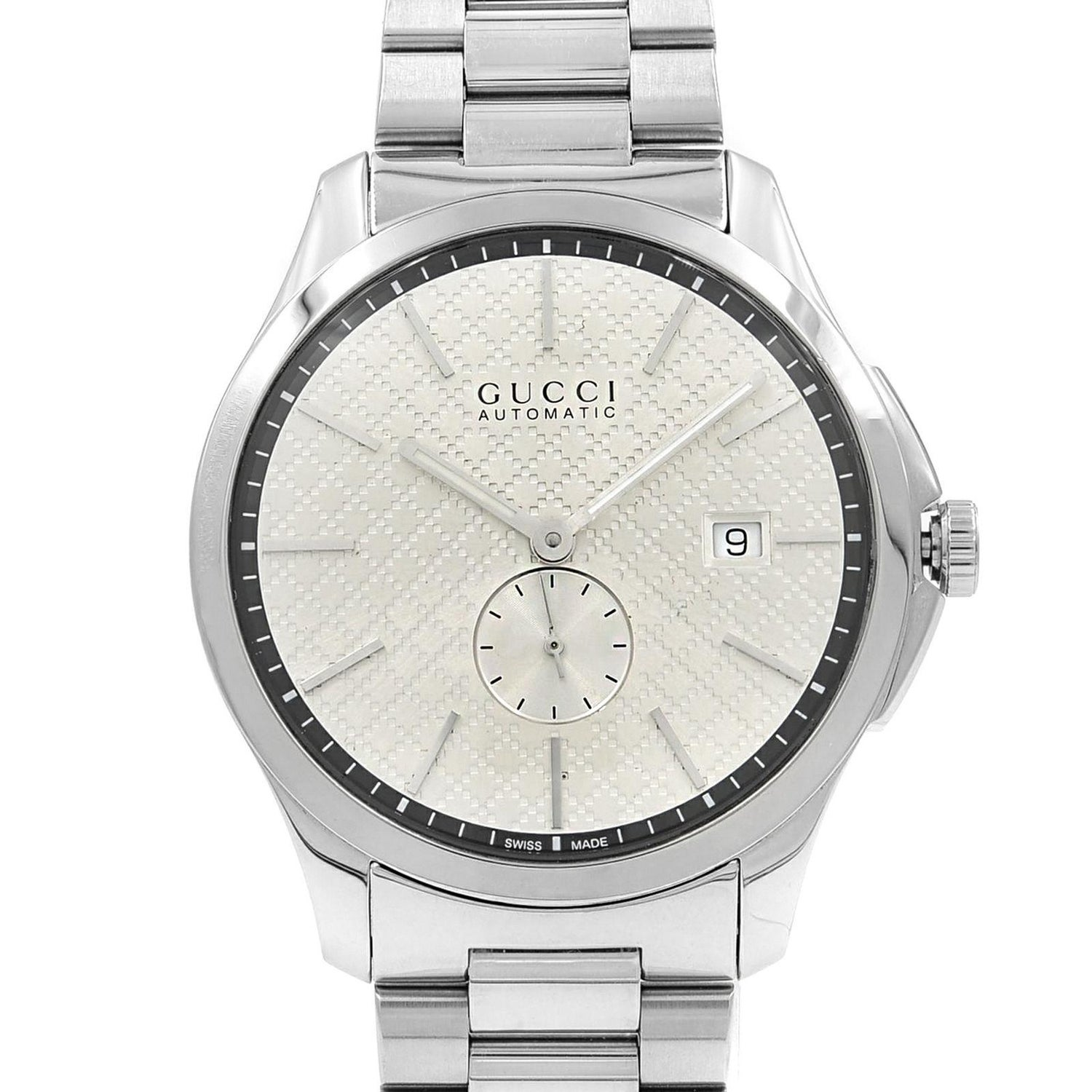 d0ab23f12b8 Gucci G-Timeless Steel Silver Checkered Dial Automatic Men s Watch YA126320  For Sale at 1stdibs