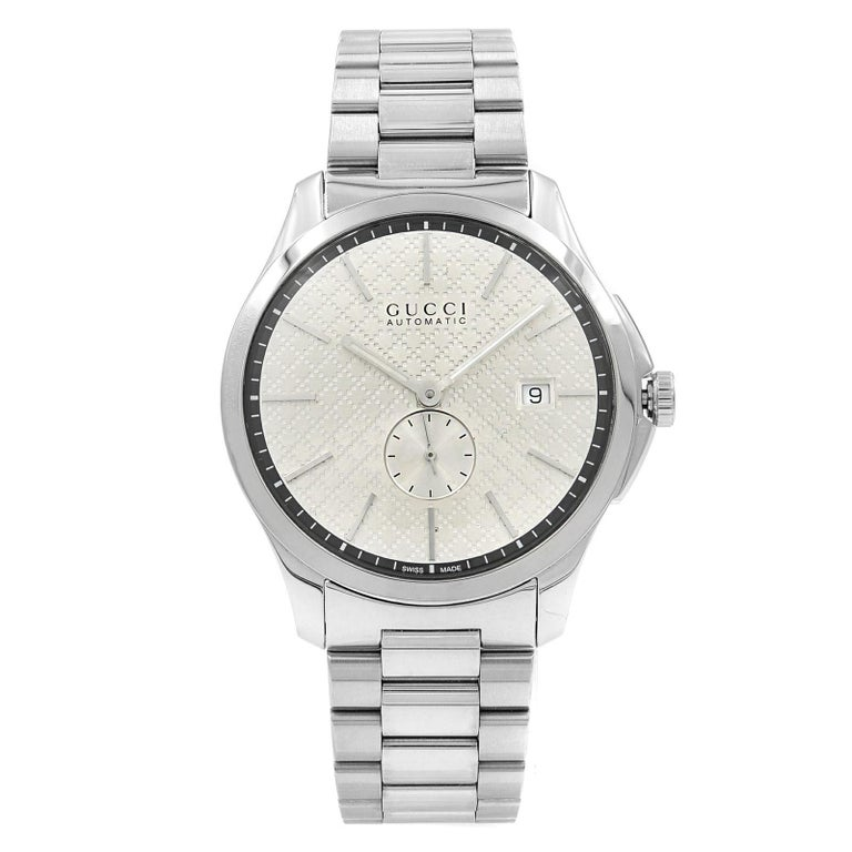 fecbb641d2f Gucci G-Timeless Steel Silver Checkered Dial Automatic Men s Watch YA126320  For Sale