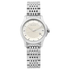 Gucci G-Timeless Steel Silver Checkered Dial Quartz Ladies Watch YA126501