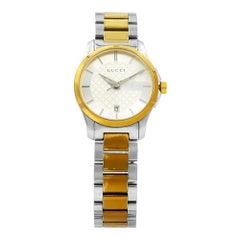 Gucci G-Timeless Two-Tone Silver Dial Steel Quartz Ladies Watch YA126531
