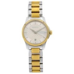 Gucci G-Timeless Two-Tone Silver Dial Steel Quartz Ladies Watch YA126531